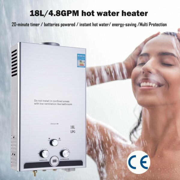Hot Water Heater Propane Gas Instant Tankless Boiler LPG Shower 18L 5GPM $90.24