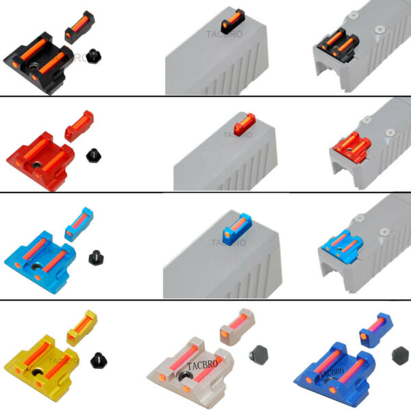 Red Fiber Optic Front and Rear Sight For Glock 17 19 22 23 24 26 27 31 34 35 $39.99
