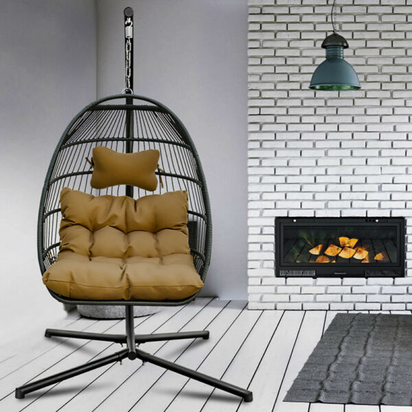 Large Hanging Hammock Swing Chair 2Person Outdoor Patio with Steel Stand Cushion $400.99