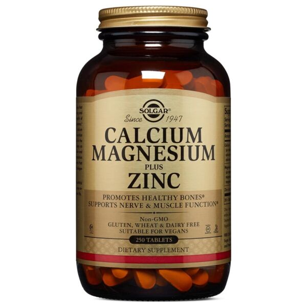 Solgar Calcium Magnesium Plus Zinc 250 Tablets FREE Shipping Made in USA FRESH $18.13