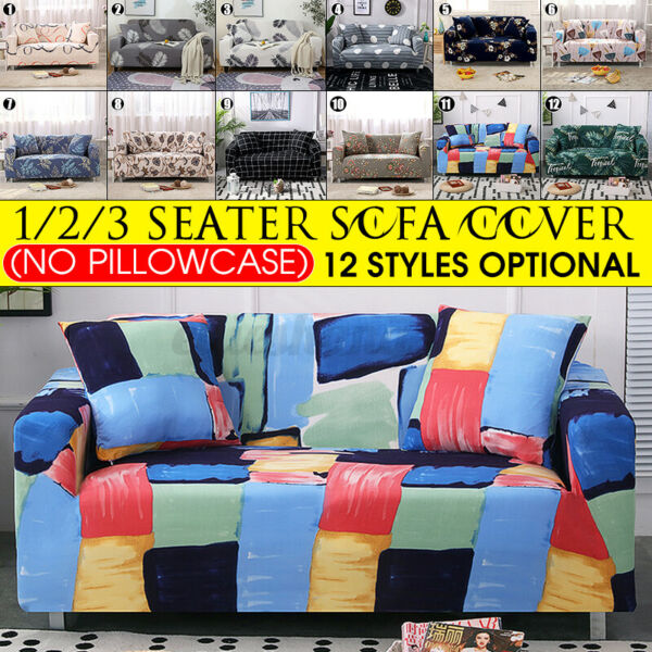 1 2 3 Seater Printed Slipcover Sofa Cover High Stretch Spandex Elastic Protector $16.99