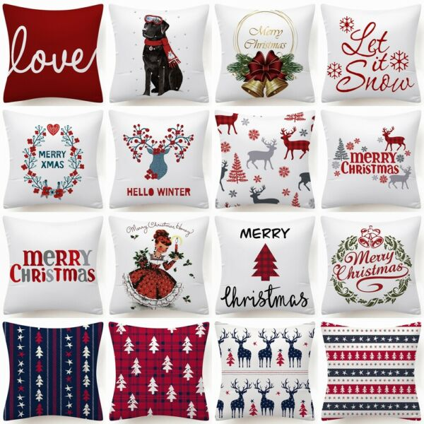 Throw PILLOW COVER Xmas Red White Merry Christmas Decorative Cushion Case 18x18quot;