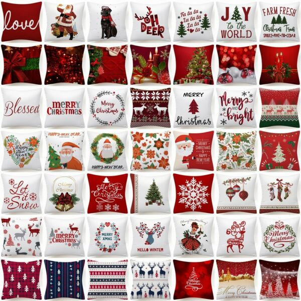 17x17quot; PILLOW COVER Christmas Decorative Red White Xmas 2 Sided Bed Cushion Case