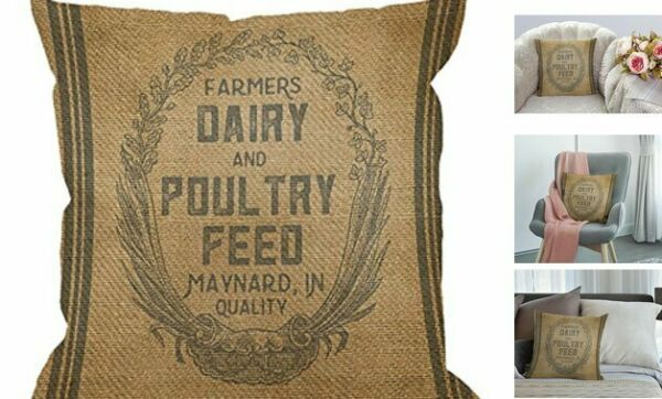 Throw Pillow Case Vintage Burlap Feed Sack Cotton Linen Square Cushion Cover St