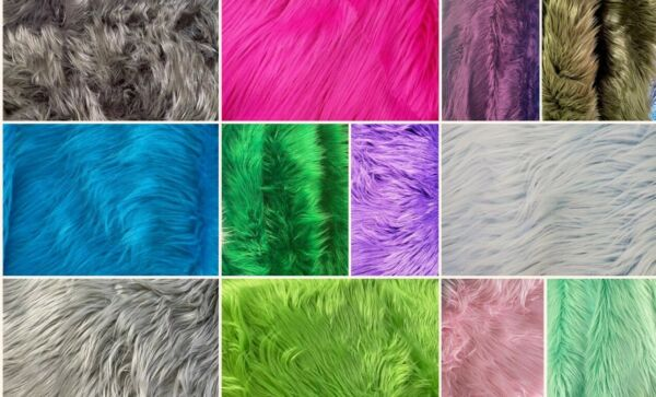 Shaggy Faux Fur Fabric Pieces Assorted Colors