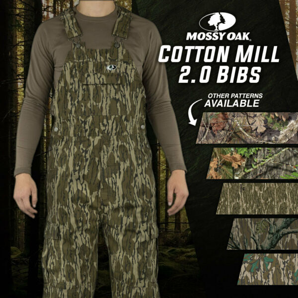 Mossy Oak Cotton Mill 2.0 Camo Hunt Bibs Uninsulated Camo overalls for Men