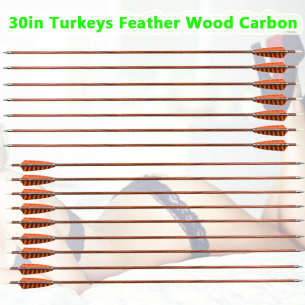 6x 30inch Wood Carbon Arrows Real Turkey Feather for Traditional Bow Spine 400 $36.65