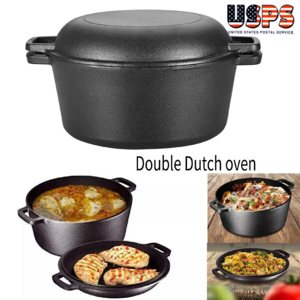 2 In 1 Cast Iron Dutch Oven Pot Pre Seasoned Fry Stew Pan Cooking Kitchen