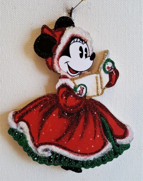 MINNIE in RED HOLIDAY DRESS SINGING CAROLS * Glitter CHRISTMAS ORNAMENT * Vtg
