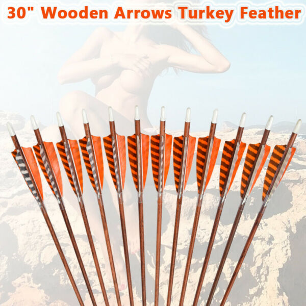 30inch Wood Carbon Arrows Turkey Feather for Traditional Bow 6pcs NEW Arrival US $36.65