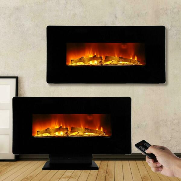 1400W 36quot; LED Electric Fireplace Wall Mounted Fake Wood Flame Air Heater Remote