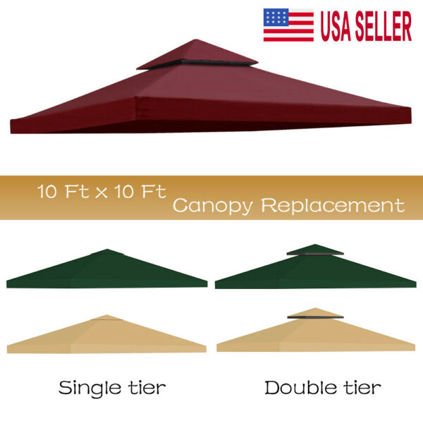 10#x27;x10#x27; Waterproof Gazebo 1 2Tier Top Replacement Canopy UV Sunshade Patio Cover
