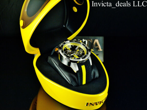 Invicta Men#x27;s 50mm S1 Rally AUTOMATIC Skeletonized Dial Black Yellow Tone Watch $199.89