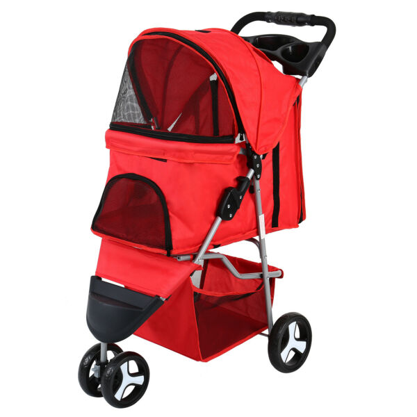 Red 3 Wheels Pet Stroller Small Cat Dog Cage Stroller Travel Folding Carrier FD $53.95