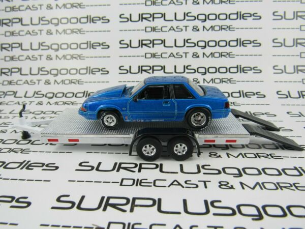 Greenlight 1:64 LOOSE Track Day 1989 FORD MUSTANG LX 5.0 Drag w Car Trailer #3 $19.95