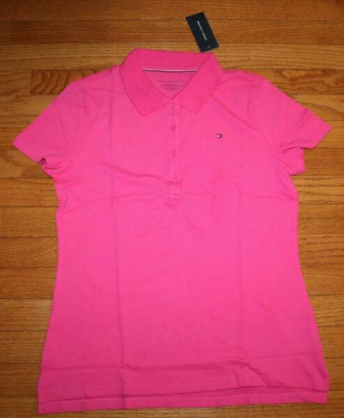 NEW NWT Womens Tommy Hilfiger Classic Fit Stretch Polo Shirt Hot Pink $44 *3B $23.79