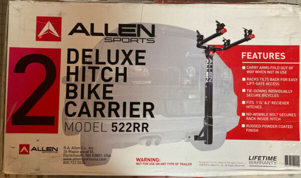 "Allen Sports Deluxe Hitch 2 Bike Carrier 522RR New 1 1 4"" And 2 "" Hitch $40.00"