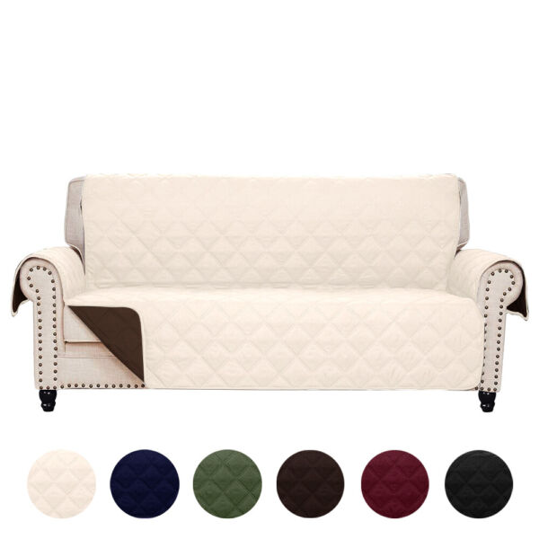 Reversible Quilted Microfiber Slipcover Sofa Couch Furniture Pet Protector Cover $24.99