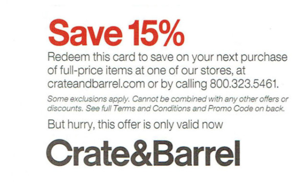 CRATE AND BARREL 15% OFF ENTIRE PURCHASE 1COUPON FURNITURE INSTORE ONLINE