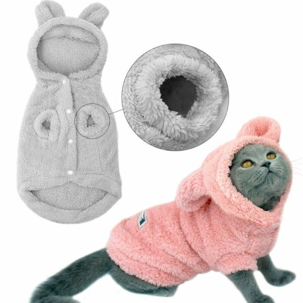 Cat Clothes Coats Jacket Costumes Winter Pet Hoodie Dogs Cats Kitten Outfits $10.99