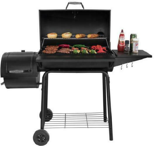 Charcoal Grill BBQ Barbecue Cooker Offset Smoker Outdoor Pit Patio 800 Sq In New