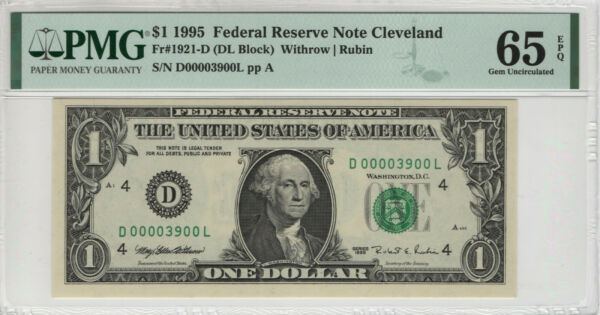1995 $1 FEDERAL RESERVE NOTE CLEVELAND FR.1921 D FANCY SERIAL NO PMG GEM 65 EPQ $39.99