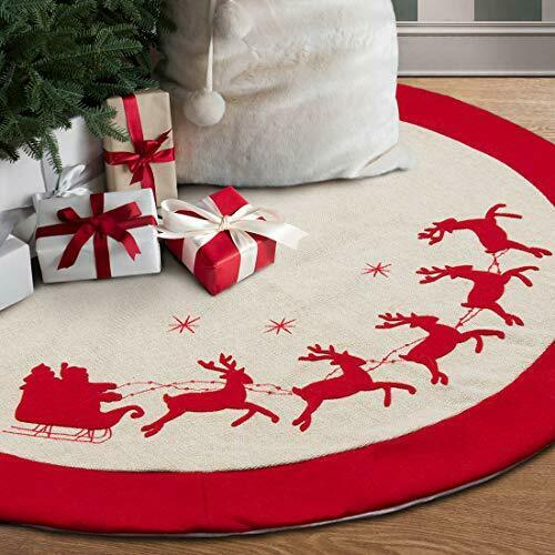 GMOEGEFT 48 Inches Burlap Christmas Tree Skirt with Red Trim Reindeer Printing