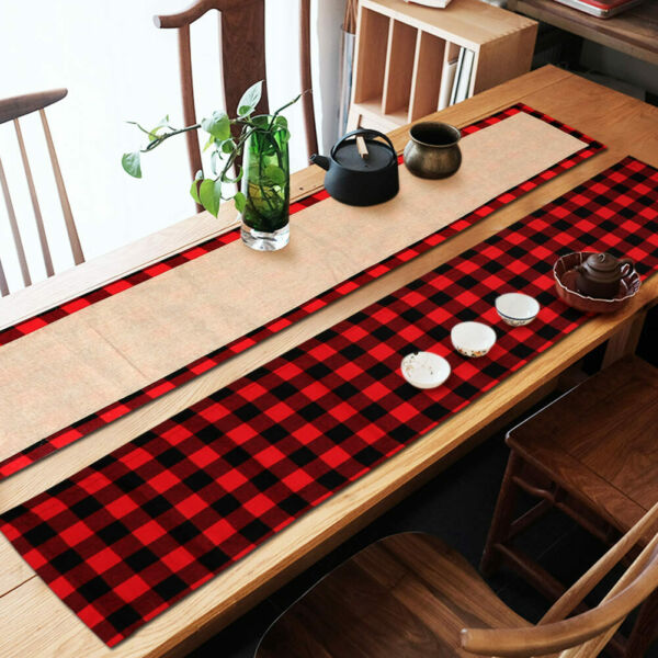 Plaid Christmas Table Runner Reversible Buffalo Burlap Table Runner Xmas Decor