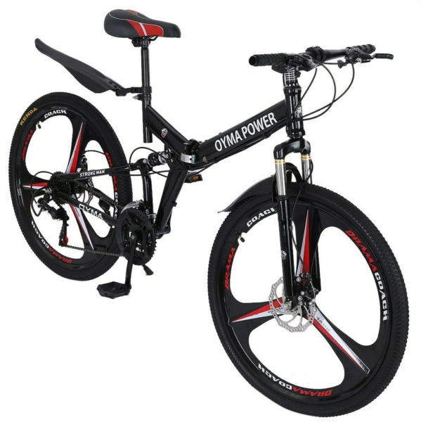 Folding Full Suspension 26in Mountain Bike Shimano 21 Speed Bikes MTB Bicycle $90.00