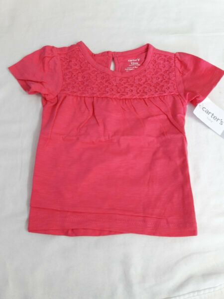 CARTERS Baby Girls Short Sleeve Designer 3 Piece Outfit Set Red Size 12 Months