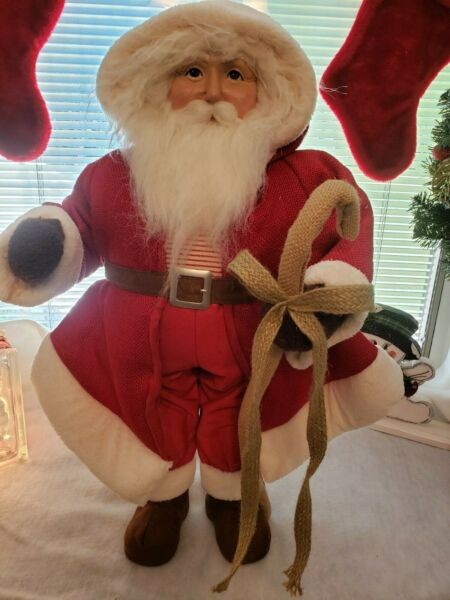 UNIQUE BEAUTIFUL SANTA CLAUS Wearing a HOODED BURLAP Coat 25 Inch Free Standing