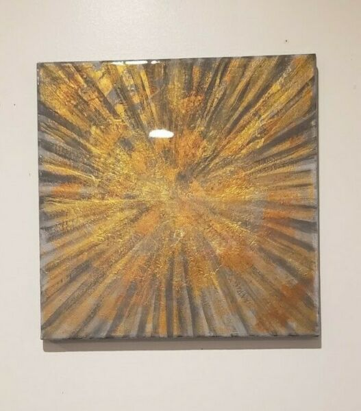 Original Abstract Resin Painting On Canvas Modern Wall Art Home Décor 12quot;x12quot;