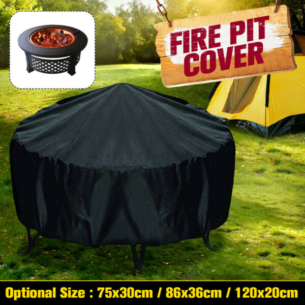 Patio Round Fire Pit Cover Waterproof UV Protector Anti Dust Grill BBQ Cover $11.31