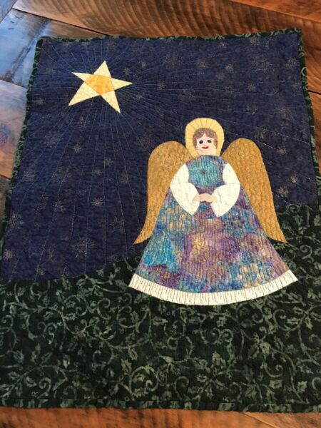 Angel Small Quilt Wall Hanging Handmade Patchwork Pieced Signed $17.99
