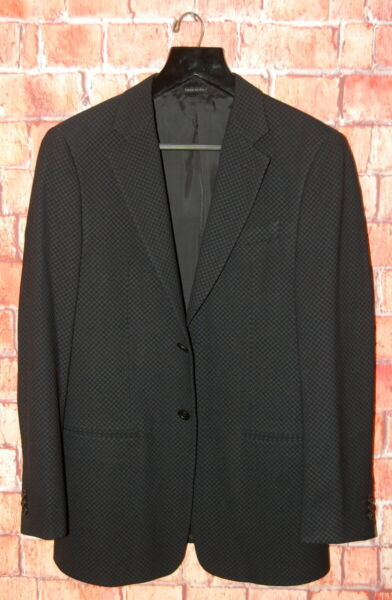 Vintage 38 S Armani Collezioni Black on Black Hounds Tooth Slim Cut Blazer rz