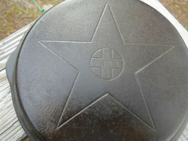 Vintage Lodge 4 in 1 Cast Iron Top Skillet Hinged Lid