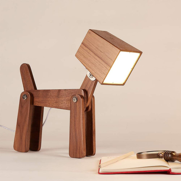 HROOME Fun Unique Dog Table Lamp Touch Sensor Wood Dimmable Bedside Desk Lamp $71.49