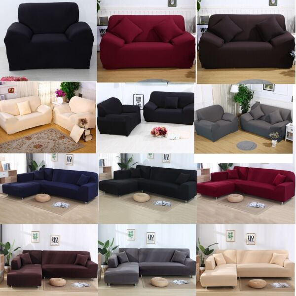Elastic Sofa Cover Stretch Couch Slipcover Protector 1 2 3 4 Seater Settee Cover $17.98