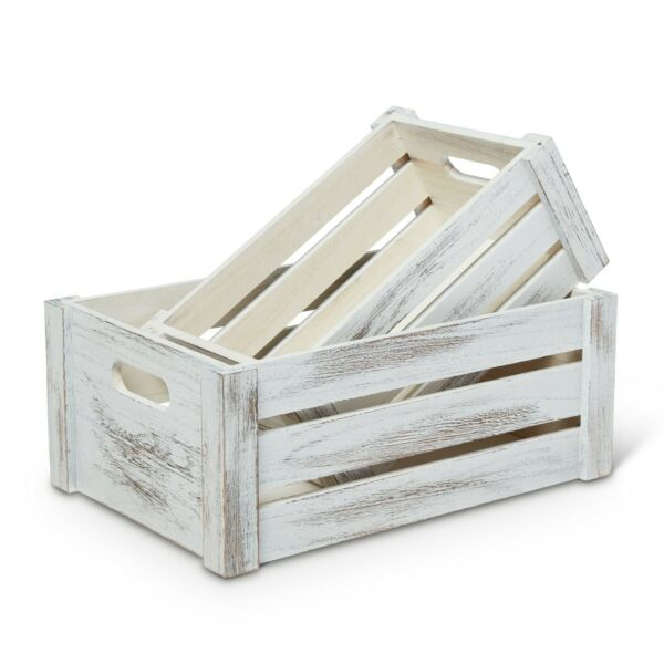 Rustic Wooden Crates Set of 2 decorative storage crates farmhouse style crate