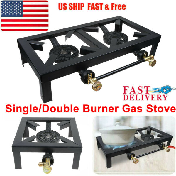 Square Propane Cooker Burner Stove Gas Outdoor Cooking Camping Stand BBQ Grill