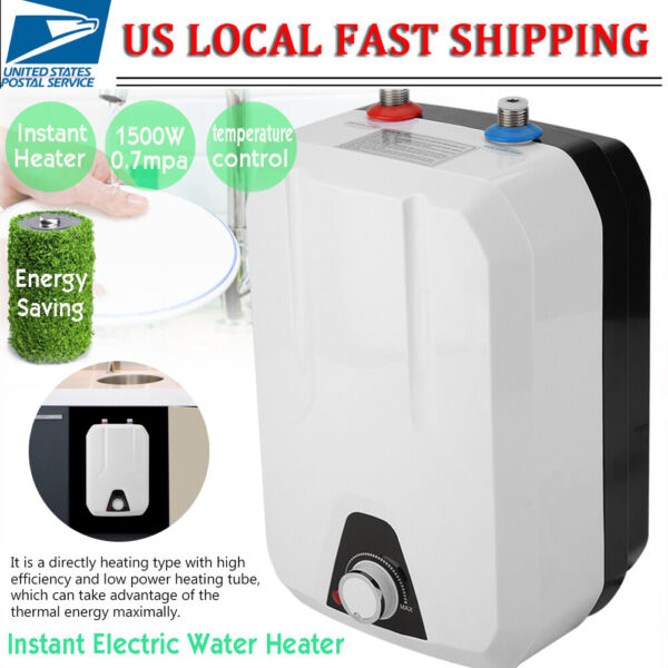 1500W 8L Tankless Electric Instant Hot Water Heater Bathroom Kitchen 110V $77.26