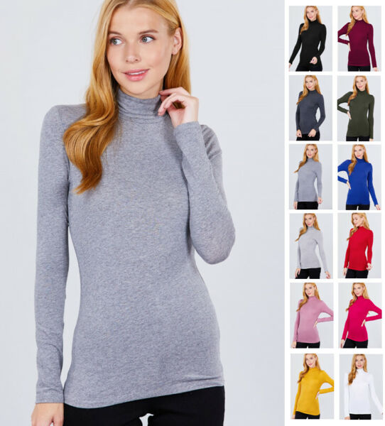 Women#x27;s Turtleneck Long Sleeve Cotton Jersey Top
