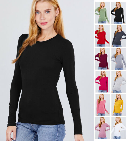 Women#x27;s Long Sleeve Crew Neck Lightweight T Shirts S 2XL