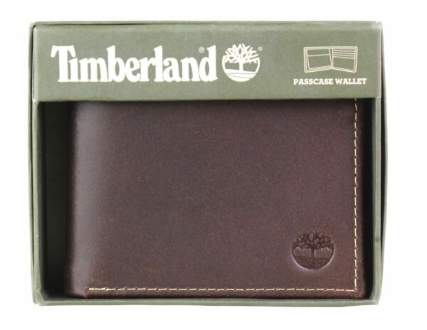 Timberland Men#x27;s Genuine Leather Passcase Credit Card Id Billfold Wallet $19.97