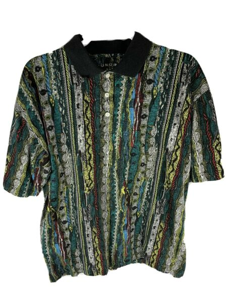 Vtg Men#x27;s Tundra Multi Colored Cosby Hip Hop Coogi Style Polo Shirt Size L $34.99