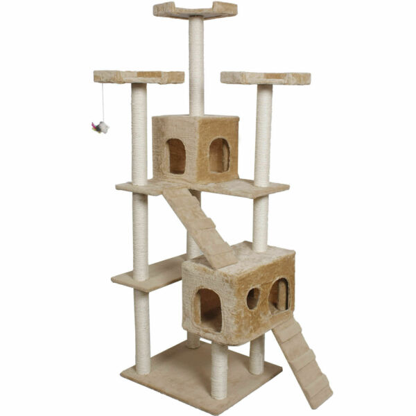 Goplus 73quot; Cat Kitty Tree Tower Condo Furniture Scratch Post Pet Home Bed Beige