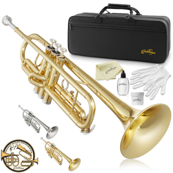 Bb Standard Trumpet Brass Band Instrument B Flat Key w Padded Case Mouthpiece