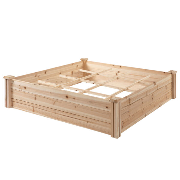 Outside 4ft x 4ft Backyard Planter Box w Wood Material for Plants $94.99