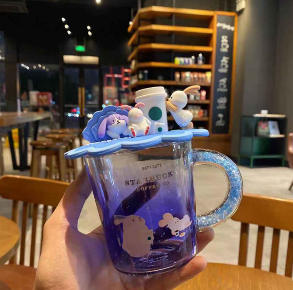 2020 Limited China Starbucks 12oz Moon Rabbit Tasting Coffee Glass Cup With Lid