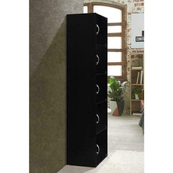 5 Door Storage Cabinet Shelf Organizer Bookcase Pantry Cupboard Closet Black